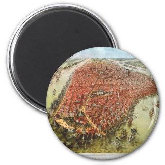 A Bird's Eye View of Manhattan, 1865 J. Bachmann 2 Inch Round Magnet