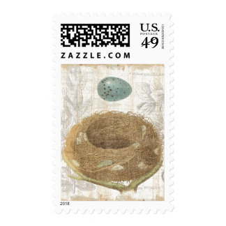 A Bird's Nest with a Decorative Egg Postage