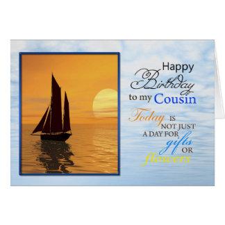 A birthday card for cousin. A yacht sailing.