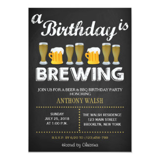A Birthday is Brewing Chalk BBQ Invitation