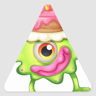 A birthday of a green monster triangle sticker