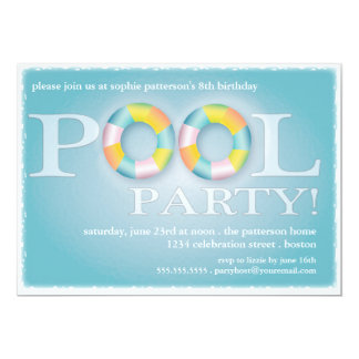 A Birthday Pool Party Floating Tubes in the Water 5x7 Paper Invitation Card