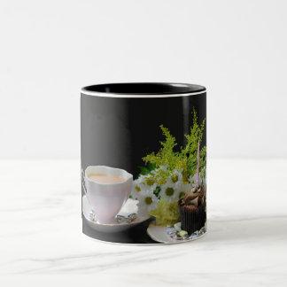 A Birthday Tea Yum tea cake flowers Two-Tone Coffee Mug