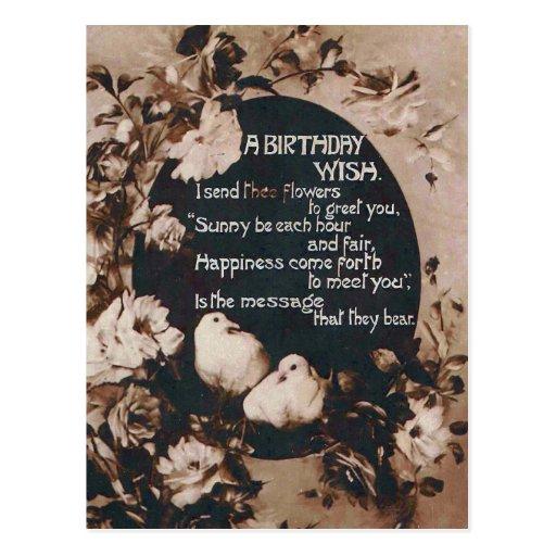 A Birthday Wish Doves Vintage Postcard