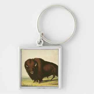 A Bison, c.1832 Silver-Colored Square Keychain