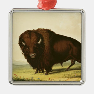 A Bison, c.1832 Square Metal Christmas Ornament