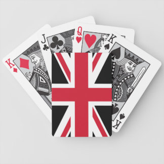 A Black and Red Union Jack Bicycle Playing Cards