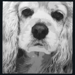 "A black and white American cocker spaniel Napkin<br><div class=""desc"">The title of the work is &quot;IMPACT&quot; The cocker which was designed large enough to overhang the screen. Cool and stylish black and white design. Please enjoy life while feeling the gaze of cocker.</div>"
