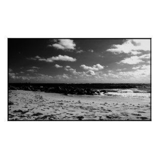 A Black and White Beach Scene Print