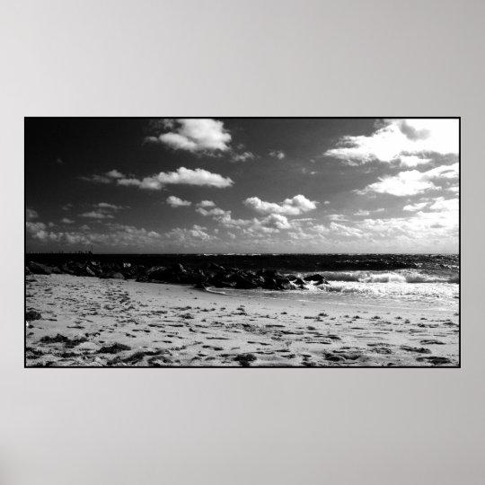 A Black and White Beach Scene Poster