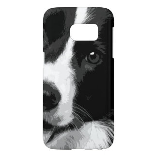 A black and white Border collie Samsung Galaxy S7 Case