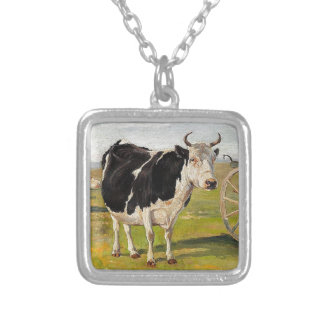 A black-and-white cow by Theodor Philipsen Square Pendant Necklace