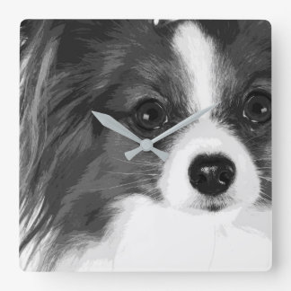 A black and white Papillon Square Wall Clock