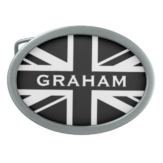 A Black and White Union Jack Belt Buckle