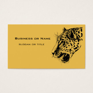 A Black and Yellow Hand Drawn Leopard Illustration Business Card