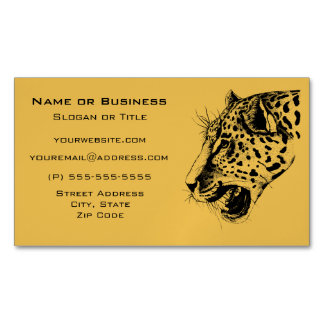 A Black and Yellow Hand Drawn Leopard Illustration Business Card Magnet