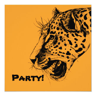 A Black and Yellow Hand Drawn Leopard Illustration Card