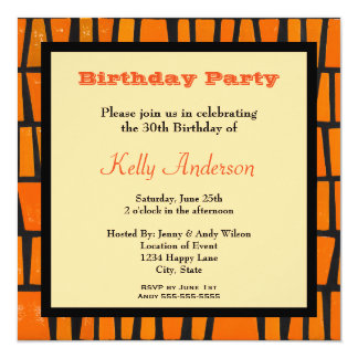 A Black and Yellow Hand Drawn Leopard Illustration 5.25x5.25 Square Paper Invitation Card
