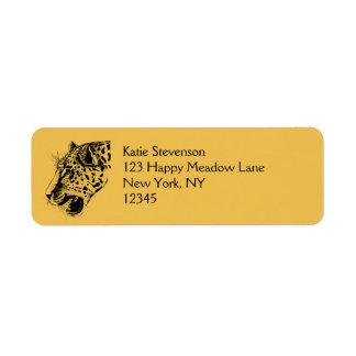 A Black and Yellow Hand Drawn Leopard Illustration Return Address Label