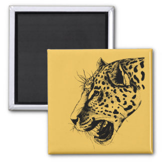 A Black and Yellow Hand Drawn Leopard Illustration Magnet