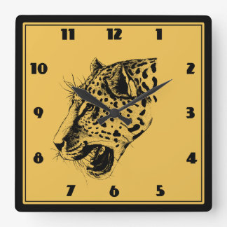 A Black and Yellow Hand Drawn Leopard Illustration Square Wall Clock