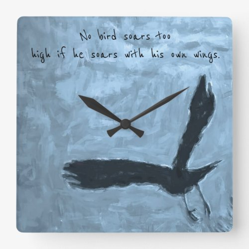 Black Bird in Flight Wall Clock