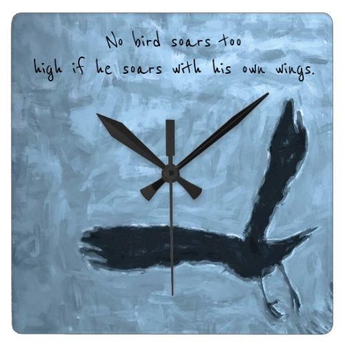 Black Bird in Flight Wall Clock