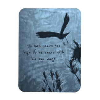 A Black Bird in Flight on a Trippy Blue Background Magnet