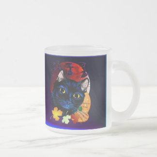 A Black Cat Halloween mugt Frosted Glass Coffee Mug