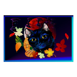 A Black Cat Halloween Poster