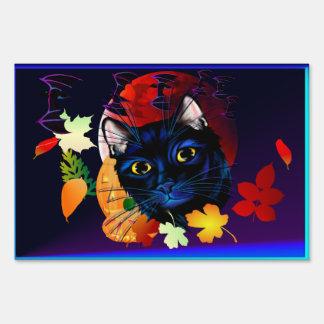 A Black Cat Halloween Yard Sign