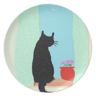 A Black Cat In The Window Sill Melamine Plate