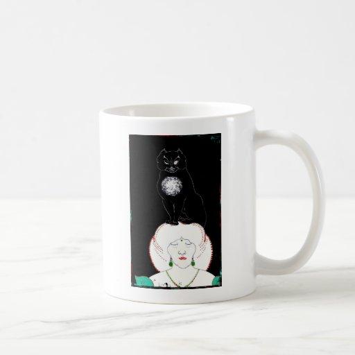 A Black Cat on Her Head Coffee Mug