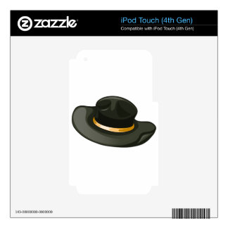 A black hat with a yellow belt skin for iPod touch 4G