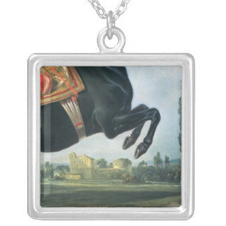 A black horse performing the Courbette Silver Plated Necklace