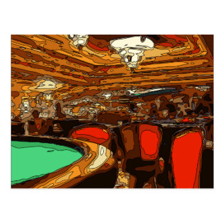 A Black Jack Table in the heart of a Vegas Casino Postcard