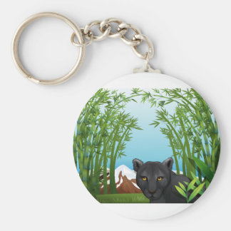 A black panther at the bamboo forest basic round button keychain