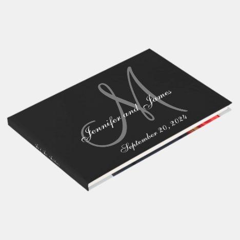 A Black Tie Affair Elegant Monogram Photo Wedding Guest Book