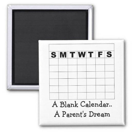 Weekly Calendar Magnet : A blank calendar parent s d refrigerator magnets
