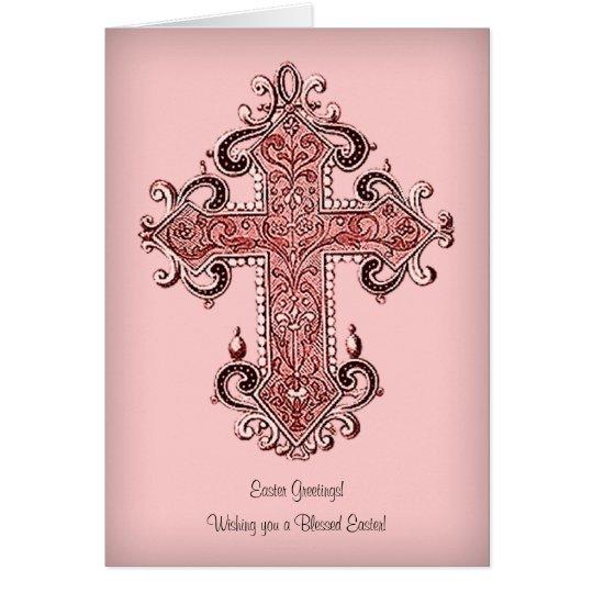 A Blessed Easter! Vintage Art Cross Greetings Card