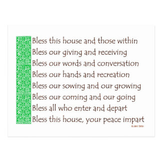 A blessing for a new home postcard