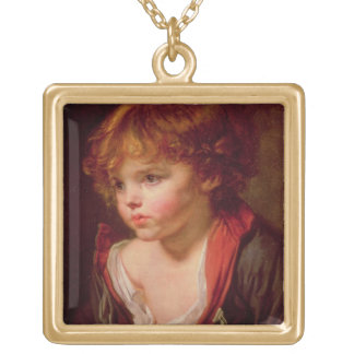 A Blond Haired Boy with an Open Shirt Square Pendant Necklace