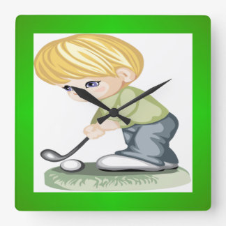 A blonde haired boy playing golf wall clocks