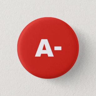 A- Blood Type / Group Rh (Rhesus) Negative Badge Pinback Button