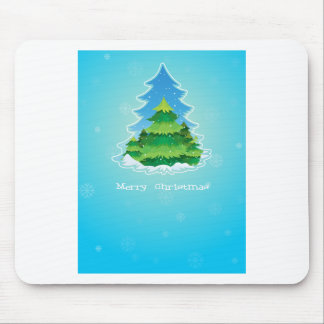 A blue christmas card template with a pine tree in mouse pad