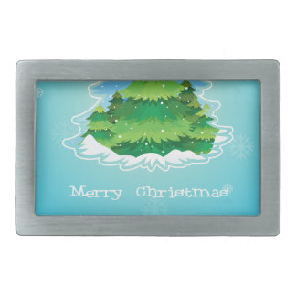 A blue christmas card template with a pine tree in rectangular belt buckle