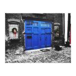 a blue door canvas stretched canvas print