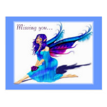 A Blue Fairy Missing you Postcard