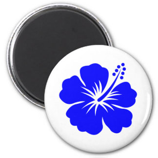 A blue hibiscus flower magnet