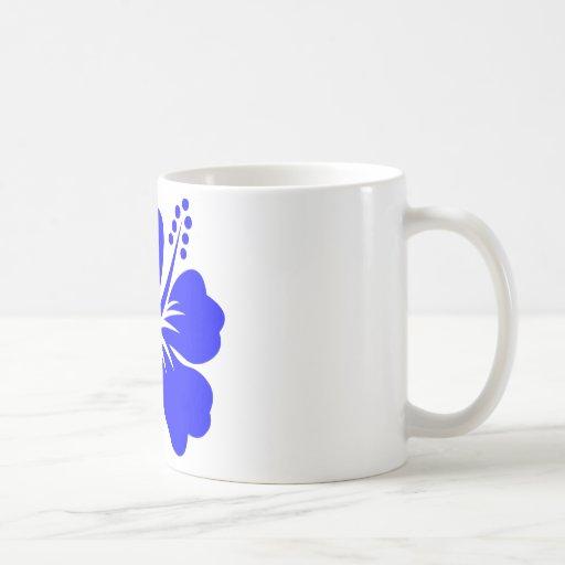 A blue hibiscus flower mugs